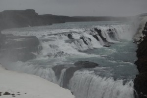 Icy Guillfoss double waterfall